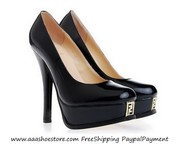 Hot sale Fendi Smooth Black Patent leather Platform Pump Free shipping